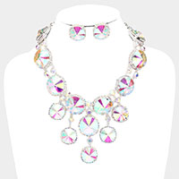 Round Crystal Cluster Evening Necklace