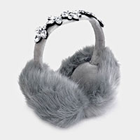 Embellished Crystal Stone Fluffy Plush Fur Earmuff
