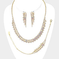Rhinestone Statement Accent Necklace Jewelry Set