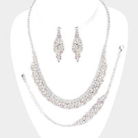 Crystal Rhinestone Statement Necklace Jewelry Set