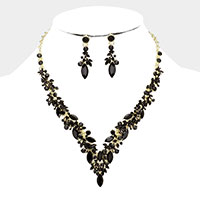Marquise Crystal Cluster Vine Evening Necklace