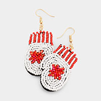 Faceted Bubble Bead Christmas Gloves Earrings