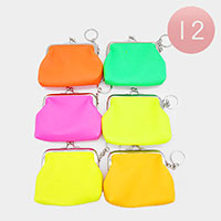 12PCS - Assorted Neon Color Coin Purse Key Chains