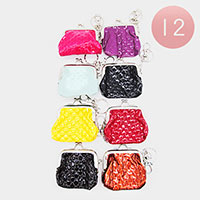 12PCS - Textured Faux Leather Coin Purse Key Chains