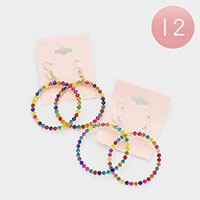 12PCS - Rainbow Rhinestone Statement Open Circle Earrings
