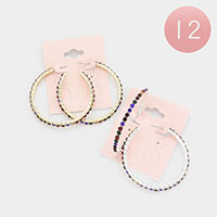 12PCS - Rainbow Rhinestone Statement Hoop Earrings