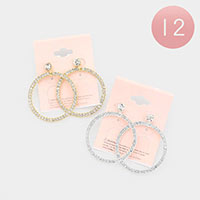 12PCS - Rhinestone Statement Open Circle Earrings