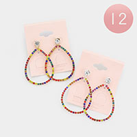 12PCS - Rainbow Rhinestone Statement Teardrop Earrings