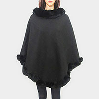 Faux Fur Collar Trim Poncho
