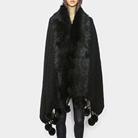Faux Fur Trim Pom Pom Dangle Poncho