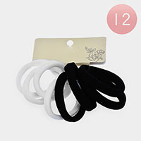 12 Set of 8 - Basic Thick Ponytail Hair Bands
