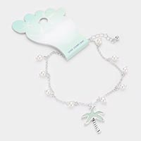 Sea Glass Palm Tree Pearl Anklet