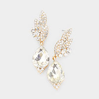 Teardrop Crystal Rhinestone Pave Dangle Evening Earrings