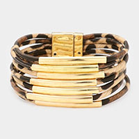 Animal Pattern Faux Leather Tube Magnetic Bracelet