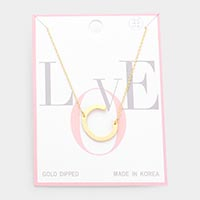 Gold Dipped Monogram Pendant Necklace