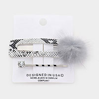 2PCS - Faux Leather Snake Fur Snap Clip / Bobby Pins