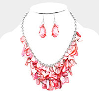 Colorful Mother of Pearl Cluster Bib Necklace