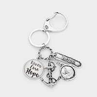 Never Lose Hope Metal Message Charm Key Chain