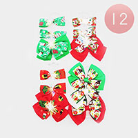 12 Set Of 3 - Christmas Theme and Frozen Bow Snap Alligator Hair Clips
