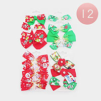 12 Set Of 3 - Frozen Christmas Bow Snap Alligator Hair Clips