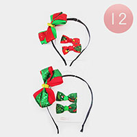 12PCS - Christmas Bow Hair Bands / Snap Alligator Hair Clips