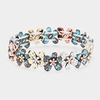 Burnished Metal Flower Stretch Bracelet