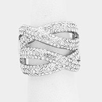 Rhinestone Pave Twist Stretch Ring