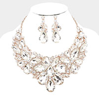 Teardrop Crystal Marquise Bib Evening Necklace