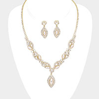 Marquise Pearl Drop Crystal Rhinestone Necklace