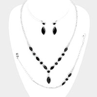 Marquise Crystal Drop Rhinestone Necklace Jewelry Set