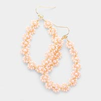 Faceted Bead Cluster Floral Teardrop Earrings