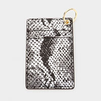 Snake Pattern Faux Leather Card Holder Key Chain