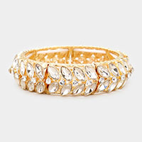 Marquise Crystal Pave Stretch Evening Bracelet