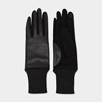 Hollowed Pattern on Faux Leather Smart Touch Gloves