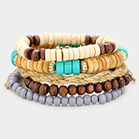 5PCS - Multi Wood Bead Layered Stretch Bracelets