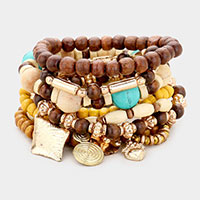 8PCS - Wood Multi Bead Metal Charm Layered Stretch Bracelets