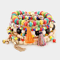 9PCS - Wood Multi Bead Tassel Layered Stretch Bracelets