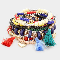 10PCS - Wood Multi Bead Tassel Layered Stretch Bracelets