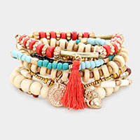 8PCS - Wood Multi Bead Tassel Layered Stretch Bracelets