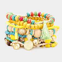 10PCS - Wood Multi Bead Tassel Metal Charm Layered Stretch Bracelets
