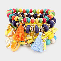 8PCS - Multi Bead Tassel Layered Stretch Bracelets