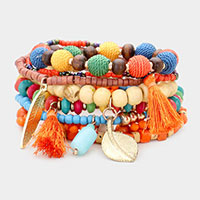 10PCS - Multi Bead Layered Tassel and Metal Charm Stretch Bracelets