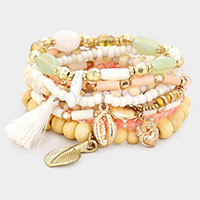 10PCS -  Multi Bead Multi Charm Layered Stretch Bracelets