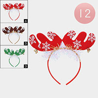 12PCS -  Rudolph Reindeer Christmas Head Bands
