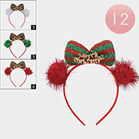 12PCS - Christmas Bow Head Bands