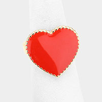 Acrylic Heart Metal Ring