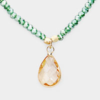 Teardrop Glass Crystal Pendant Faceted Beaded Necklace