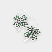 Good Luck Clover Rhinestone Dangle Earrings