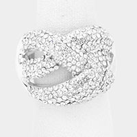 Embellished Rhinestone Pave Knot Stretch Ring