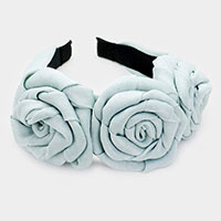 Triple Rosette Faille Headband